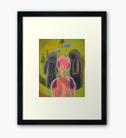 Disappearance of the Woman and Her Own Two Stone Children With Clouds On Wheels Framed Print