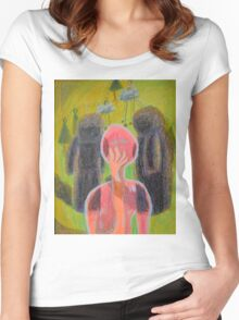 Disappearance of the Woman and Her Own Two Stone Children With Clouds On Wheels Women's Fitted Scoop T-Shirt