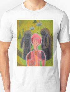 Disappearance of the Woman and Her Own Two Stone Children With Clouds On Wheels T-Shirt