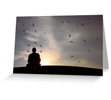The Swallows and the Monk. Greeting Card
