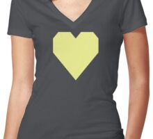 Pastel Yellow Women's Fitted V-Neck T-Shirt