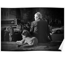 A MAN AND HIS DOG IN BW Poster