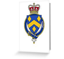 Coat of arms (family crest) for last-name or surname Hyde (England) . Heraldry banner for your name. Greeting Card