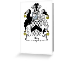 Coat of arms (family crest) for last-name or surname Illey . Heraldry banner for your name. Greeting Card