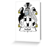 Coat of arms (family crest) for last-name or surname Imhof . Heraldry banner for your name. Greeting Card