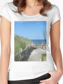 Boardwalk to the ocean beach Women's Fitted Scoop T-Shirt