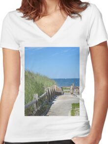 Boardwalk to the ocean beach Women's Fitted V-Neck T-Shirt