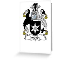 Coat of arms (family crest) for last-name or surname Ingleby . Heraldry banner for your name. Greeting Card