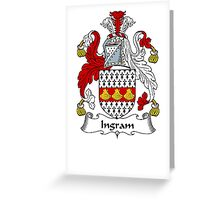 Coat of arms (family crest) for last-name or surname Ingram . Heraldry banner for your name. Greeting Card