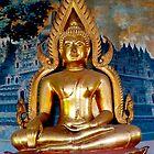 Buddha gold close up Buddhist Temple. by Amanda Gazidis
