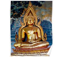 Buddha gold close up Buddhist Temple. Poster