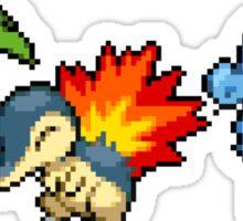 Johto Region Pixel Starters Sticker