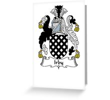Coat of arms (family crest) for last-name or surname Irby . Heraldry banner for your name. Greeting Card