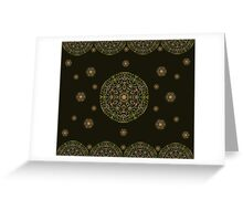 Gold Mandala with Black background Greeting Card