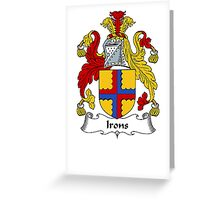 Coat of arms (family crest) for last-name or surname Irons . Heraldry banner for your name. Greeting Card
