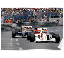 Ayrton Senna vs Nigel Mansell at Monaco '92 Poster