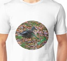 ITS THAT TIME OF YEAR FALLING COLOURFUL LEAVES= AUTUMN-DUCK RAKING LEAVES--A DUCKS WORK IS NEVER DONE-QUACK-QUACK->>PILLOWS-TOTE BAG-BOOK-JOURNAL-SCARF APPAREL - ECT Unisex T-Shirt