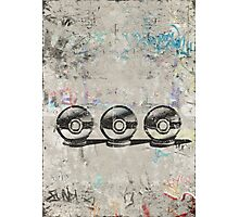 Pokemon - 3 Pokéballs Graffiti (Black) Photographic Print