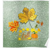 Fall Leaves Soft Green Faux Glitter Poster
