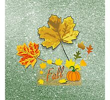 Fall Leaves Soft Green Faux Glitter Photographic Print