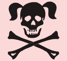 Crossbones Skull Pigtails Kids Tee