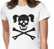 Crossbones Skull Pigtails Womens Fitted T-Shirt
