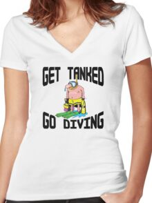 """""""Get Tanked Go Diving"""" SCUBA  Women's Fitted V-Neck T-Shirt"""