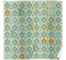 Blue and Brown Tear Drop Pattern Poster