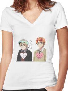 Usuk Hetalia  Women's Fitted V-Neck T-Shirt