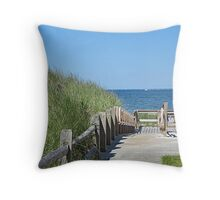 Boardwalk to the ocean beach Throw Pillow