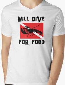 "Scuba ""Will Dive For Food"" Mens V-Neck T-Shirt"