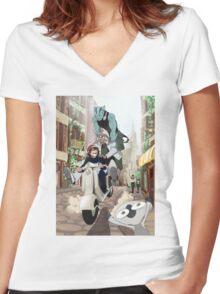 Kekkai Sensen - Leonardo, Zapp and Zed on vespa Women's Fitted V-Neck T-Shirt