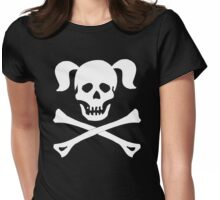 Skull Crossbones Pigtails Womens Fitted T-Shirt