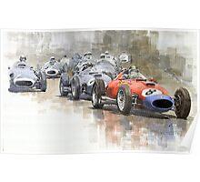 Red Car Ferrari 801Mike Hawthorn German GP 1957  Poster