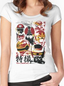 Tokusatsu Assemble 3 colors Women's Fitted Scoop T-Shirt
