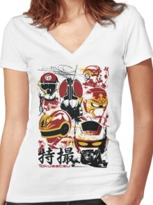 Tokusatsu Assemble 3 colors Women's Fitted V-Neck T-Shirt
