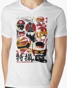 Tokusatsu Assemble 3 colors Mens V-Neck T-Shirt