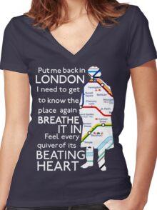 London Underground Map Sherlock Women's Fitted V-Neck T-Shirt