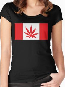 Canadian Flag Marijuana Leaf Women's Fitted Scoop T-Shirt