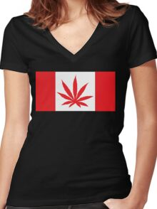 Canadian Flag Marijuana Leaf Women's Fitted V-Neck T-Shirt