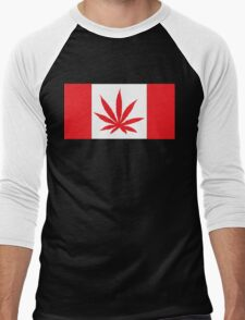 Canadian Flag Marijuana Leaf Men's Baseball ¾ T-Shirt