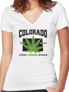 Colorado Marijuana Cannabis Weed T-Shirt Women's Fitted V-Neck T-Shirt