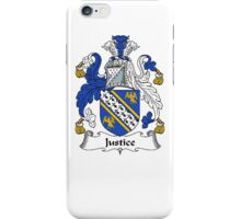 Coat of arms (family crest) for last-name or surname Justice . Heraldry banner for your name. iPhone Case/Skin