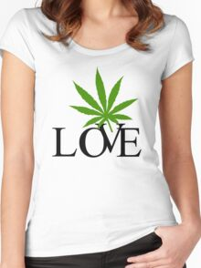 Love Marijuana Cannabis Women's Fitted Scoop T-Shirt