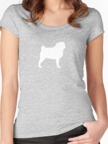Pug Silhouette (White) Women's Fitted Scoop T-Shirt