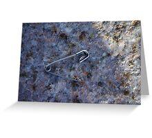 Safety Pin on White Granite Greeting Card