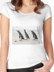 Magellanic Penguins on the Beach Women's Fitted Scoop T-Shirt