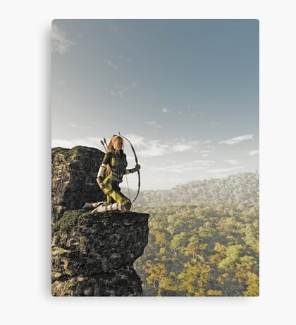 Blonde Female Elf Archer above the Forest Canvas Print