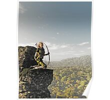 Blonde Female Elf Archer above the Forest Poster