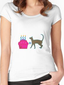 Pink Cupcake + Brown Pussy Cat Women's Fitted Scoop T-Shirt